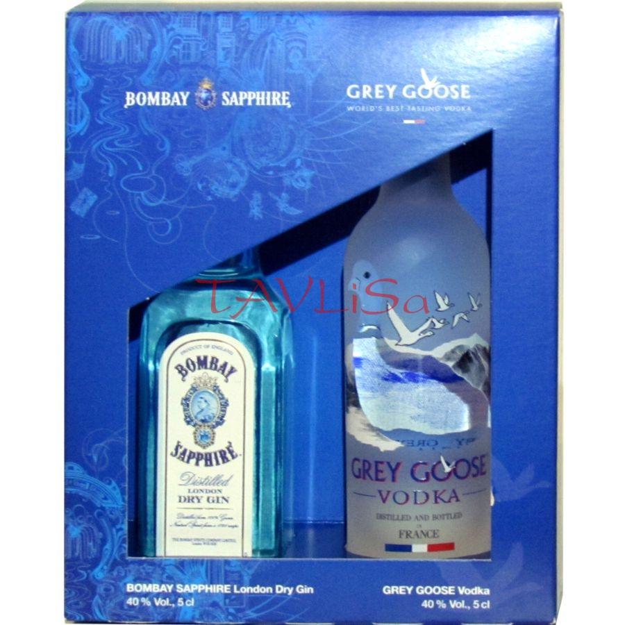 Dárková sada 2 miniatur Gin Bombay a Grey Goose