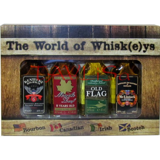Whiskey The World Sada 40% 40ml x 4ks miniatura